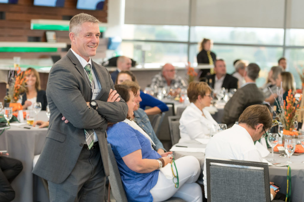 Attendees finish the first day of the Colorado State University College of Agriculture's Ag Innovation Summit 2.0 with Roundtable 2.0, a dinner exploring Cultivating Colorado's Ag Innovation Ecosystem for Global Leadership, moderated by Kevin Ochsner, Founder and President of Agcellerate, LLC., September 6, 2017.