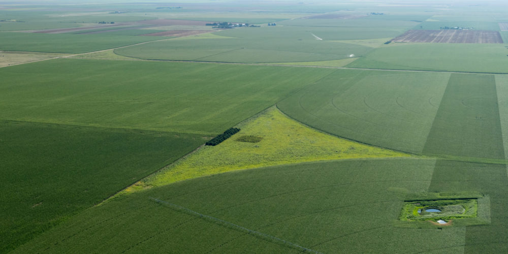 Aerial view agricultural activites in the Haxton, Colorado area using water supplied by the Ogallala Aquifer