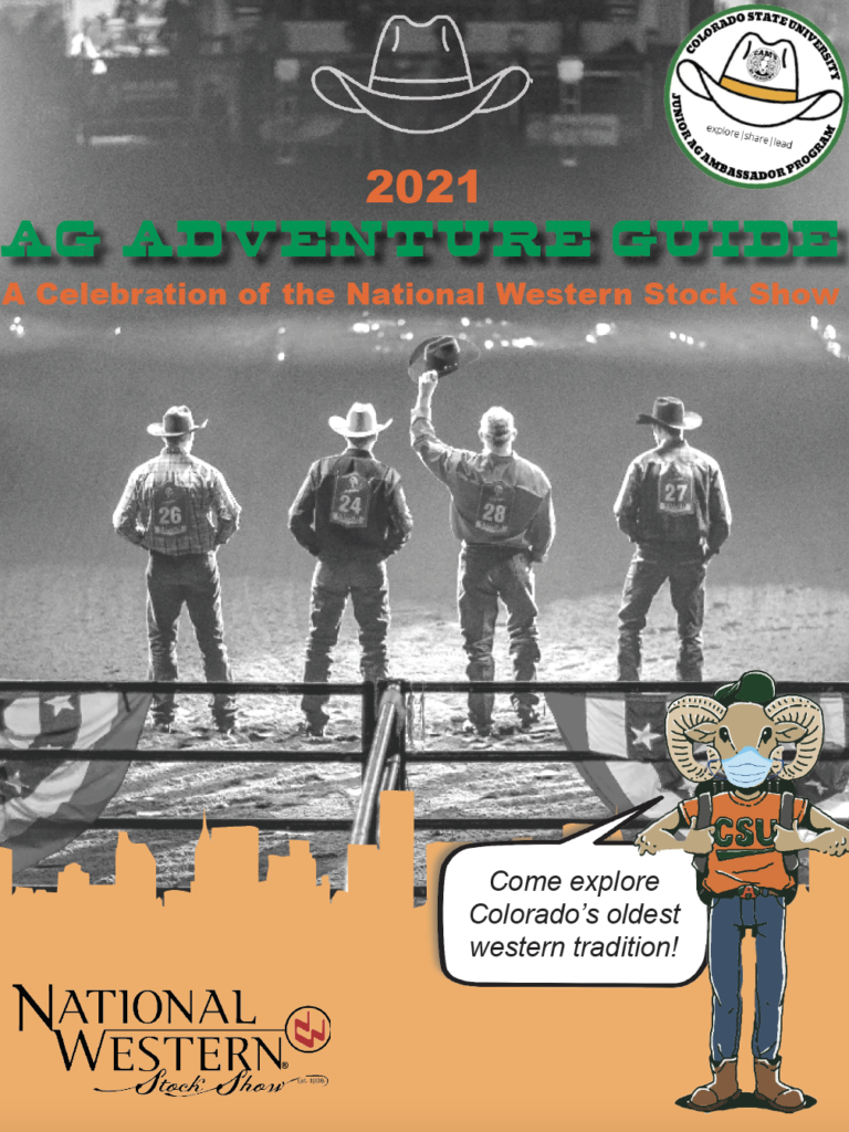Ag Adventure Guide cover featuring four cowboys and Cam the Ram wearing a mask